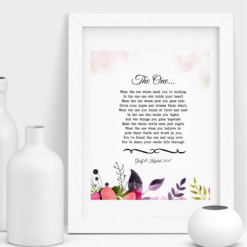 The One, True Love Poem, Personalized Wedding Print