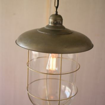 Antique Brass Caged Glass Dome Pendant Light