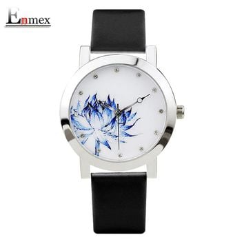 2017 lady gift Enmex silver case Lotus chinese style original design Oriental Graceful Underglaze blue fashion quartz watches