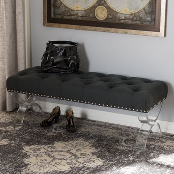Baxton Studio Cameron Modern and Contemporary Grey Fabric Upholstered Button-Tufted Ottoman Bench with Acrylic Legs Set of 1
