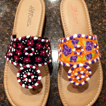 Hand painted sandals that are inspired by the look of Jack Rogers. Game day sandals USC VS CLEMSON