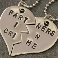 Partners in Crime Stainless Steel Necklaces - Best Friend Jewelry - BFF Jewelry - Best Bitch Jewelry - Best Bitches - Best Friend Gift