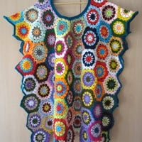 ON SALE - 10% OFF Granny Square Wrap...Patchwork style poncho