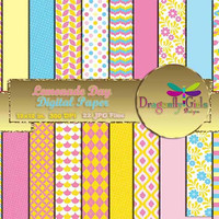 80% OFF Sale Lemonade Day Digital Paper Pack commercial use,scrapbook papers,background,animal print ,flowers,colorful, Chevron, Dots