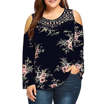 Women's Plus Long Sleeve Cold Shoulder Floral Print Lacey Top