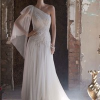 One Shoulder Gown with Handkerchief Hemline - David's Bridal