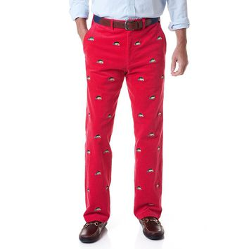 Beachcomber Corduroy Pant in Crimson with Embroidered Woody & Christmas Tree by Castaway Clothing