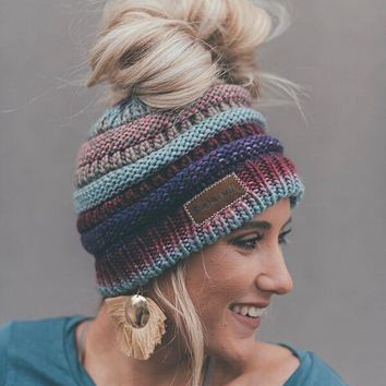 Messy Bun Knitted Beanie Hat - Purple Multi