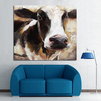 Modern Art 100%Handpainted Animal Oil Painting Cow Paintings on Canvas Wall Pictures for Home Decor Unique Gift