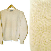 Vintage Knit Sweater~Size Small/Medium~90s Cream Yellow Wool Pullover Sweater~By North Country