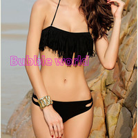 Hot 2 pcs Black Tassel Padded Bandeau Fringe BIKINI BEACH Women Swimsuit Swimwear set