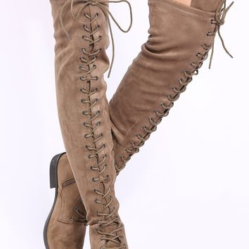 Taupe Faux Suede Lace Up Thigh High Boots @ Cicihot Boots Catalog:women's winter boots,leather thigh high boots,black platform knee high boots,over the knee boots,Go Go boots,cowgirl boots,gladiator boots,womens dress boots,skirt boots.