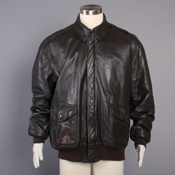 80s Leather BOMBER Jacket / LL Bean Flying Tigers A-2 Goatskin Flight Jacket M - L