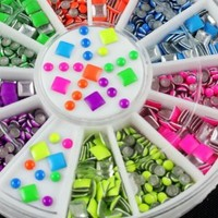 300 pcs Nail Art Care Acrylic Tips Decals Colorful Stud Rhinestone Decoration Wheel DIY
