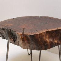 Live Edge Walnut Side Table Hairpin Steel Legs