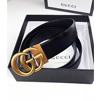 Gucci High quality Hyperelastic cortex Print Belt Belt Women Men Belt Rotating buckle Black B