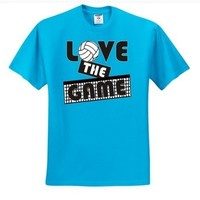 "Adult Cali Blue ""LOVE THE GAME"" Volleyball T-Shirt"