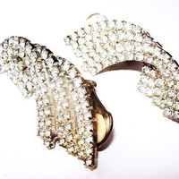 "Rhinestone Climber Wedding Earrings Silver Metal Clip On's 1 3/4"" Vintage"