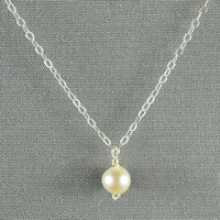 Creamy Colored Pearl Necklace 925 Sterling by WonderfulJewelry