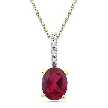 10kt Yellow Gold Womens Oval Lab-Created Ruby Solitaire Diamond Pendant 1.00 Cttw