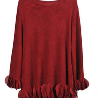 Long Sleeve Knitted Pullover With Petals