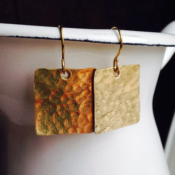 Etsy, Etsy Jewelry, Brass Earrings, Hammered Earrings, Square Earrings, Brass Square Earrings