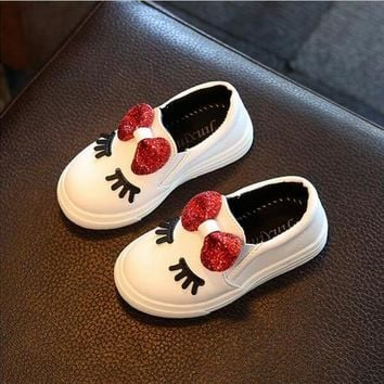 Girls sneakers spring 2017 new toddler children's baby white bowknot glitter casual soft flat shoes kids chaussure enfant 908