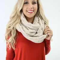 Sleigh Ride Cream Cable Knit Infinity Scarf