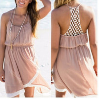Cutout Back Asymmetrical Beach Dress