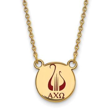 14K Plated Silver Alpha Chi Omega Small Enamel Necklace