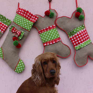 Dog Christmas Stocking   Dog Bone Stockings Burlap Christmas Stockings Pet Stockings EXPRESS SHIPPING