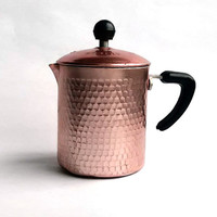 1970s Italian percolator - Retro coffee maker - Tea maker - Aluminium coffee pot - Hand hammered, copper colored - For one cup