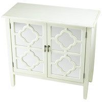 Sayre 2-Door Mirrored Cabinet, White, Cabinets & Hutches