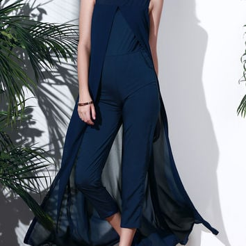Purplish Blue Sleeveless Jumpsuit