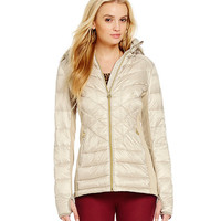 MICHAEL Michael Kors Chevron-Quilted Puffer Jacket with Detachable Faux-Fur Hood | Dillards