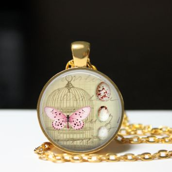 Vintage art pendant necklace with bird cage, butterfly and eggs, shabby style art jewelry, pastel colors, pendant necklace