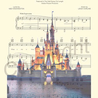 Disney World Cinderella Castle Sheet Music Art Print