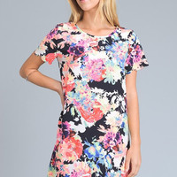 Neon Floral Shift Dress
