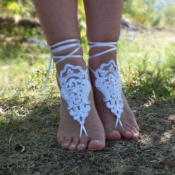 White Beach wedding barefoot sandals,  lace sandals, White barefoot sandals