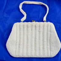 Walborg Richere Glass Beaded Purse White Micro Beads Evening Bag