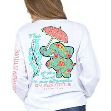 Southern Attitude Preppy Joy Elephant White Long Sleeve T-Shirt
