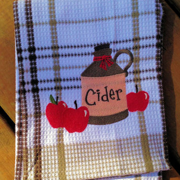 Tea Towel  ( 100% cotton kitchen dish towel with Apple Cider Embroidery )