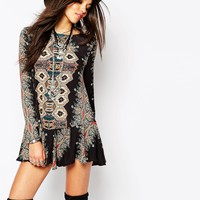 Free People Smooth Talker Tunic Dress In Mirrored Tile Print