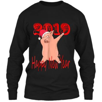 Dabbing Pig Happy New year 2019 Funny Party LS Ultra Cotton Tshirt