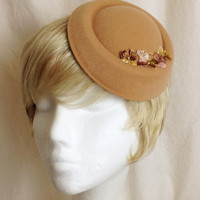 Beige cream felted flowered pillbox fascinator hat