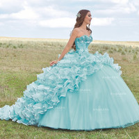 STRAPLESS RUFFLED QUINCEANERA DRESS BY RAGAZZA FASHION STYLE B79-379