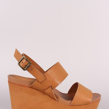 Bamboo Double Band Slingback Platform Wedge