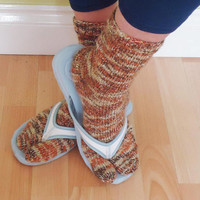 Women Split Toe Socks, Tabi Socks, Flip Flops Socks, Sandals Socks, Handknitted Socks in Orange,Beige and Brown, Japanese Socks