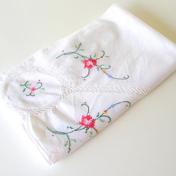 Vintage Tablecloth Handmade Cross Stitch Pink Roses White Cotton