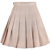 Japanese Beige Plait High Waist Skirt SD01373